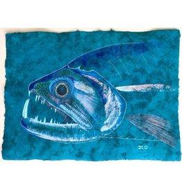 "Rio Xingu Payara (23.5""x17"") Acrylic on Mayan Huun Paper"