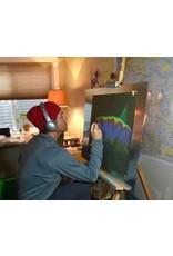 "Acrylic on handmade Mayan Huun paper, 23.5""x 17"""