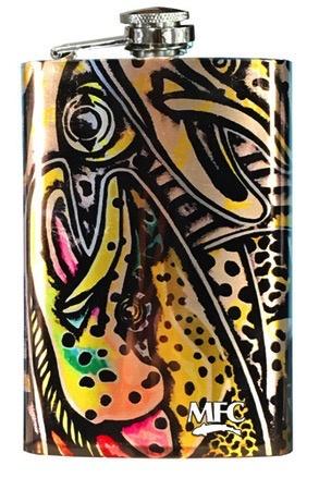 MFC Stainless Hip Flask Estrada's Rainbow Trout Graffiti