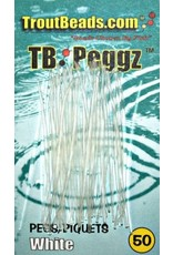 Trout Beads Pegs White 50 Count