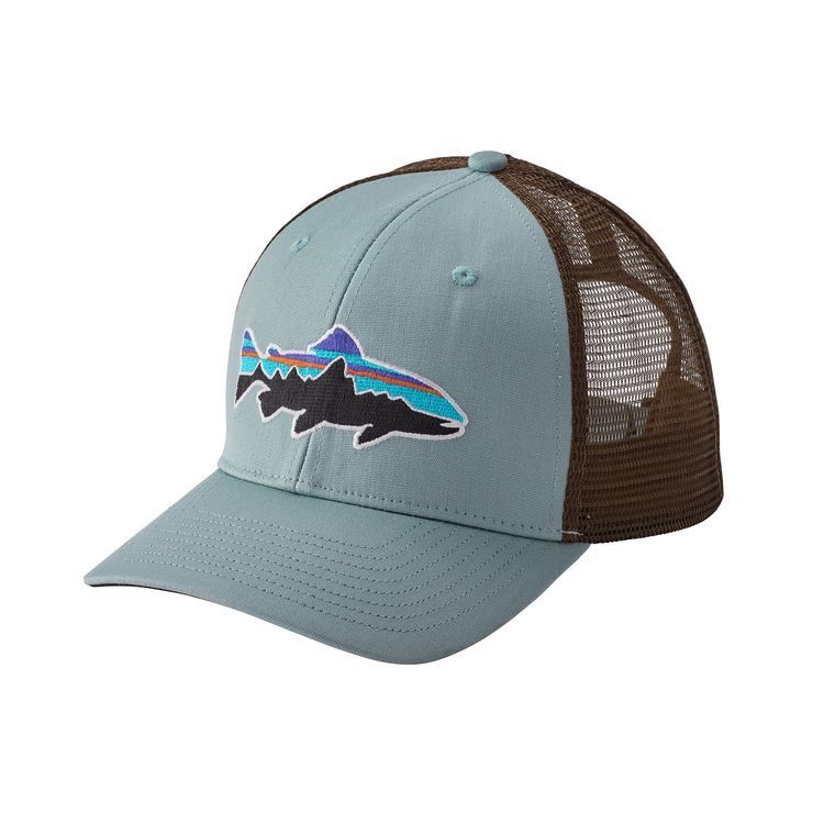 Patagonia Fitz Roy Trout Trucker Hat Cadet Blue RGA branded