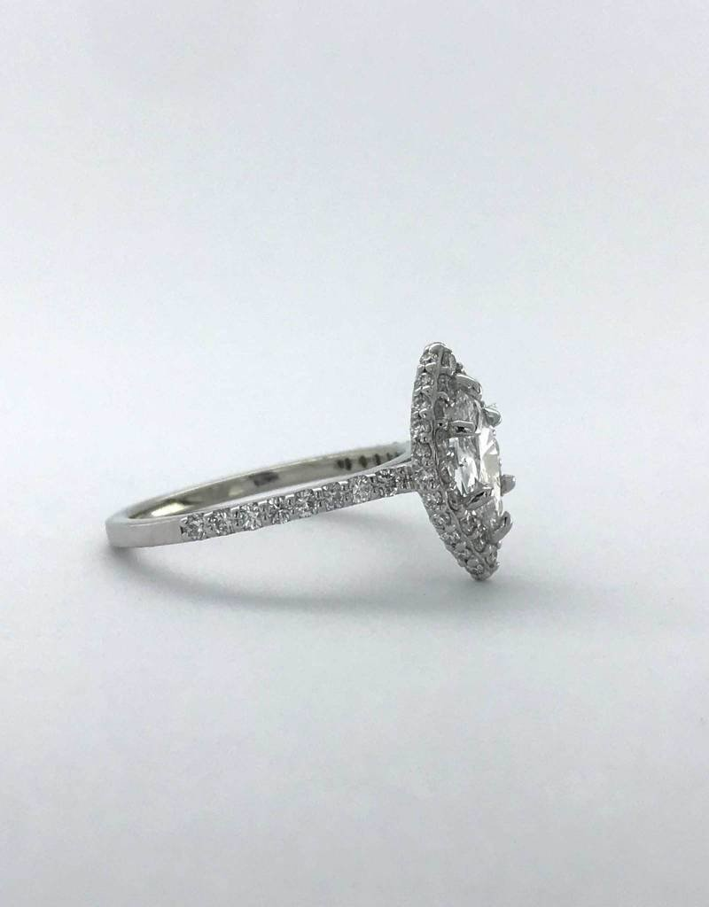 American Jewelry 14k White Gold 1.13ctw (.53ct F/SI2 Marquise) Seamless Double Edge Halo Engagement Ring (Size 6)