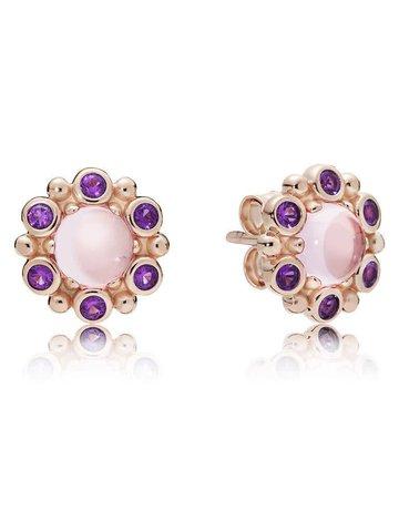 Pandora Retired - PANDORA Rose Stud Earrings, Heraldic Radiance, Pink & Purple Crystals