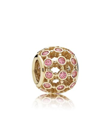Pandora Retired - PANDORA Charm, 14k In the Spotlight, Pink CZ