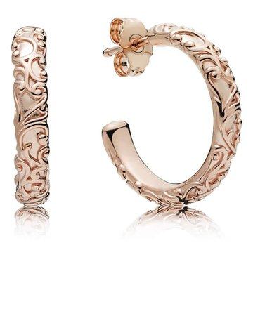 Pandora Retired - PANDORA Rose Hoop Earrings, Regal Beauty