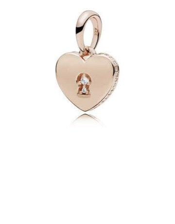Pandora Retired - PANDORA Rose Pendant, Shimmering Keyhole, Clear CZ