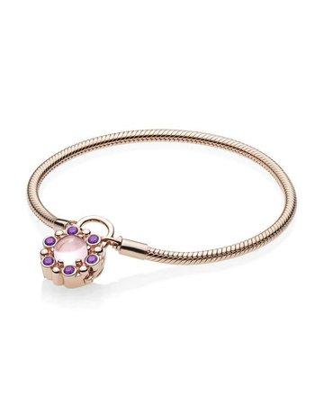 Pandora Retired - PANDORA Rose Bracelet, Heraldic Radiance Padlock Clasp, Pink & Purple Crystals - 18 cm / 7.1 in