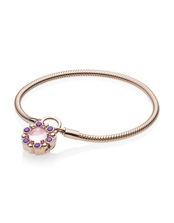 Pandora Retired - PANDORA Rose Bracelet, Heraldic Radiance Padlock Clasp, Pink & Purple Crystals - 21 cm / 8.3 in