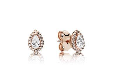PANDORA Rose Stud Earrings, Radiant Teardrops, Clear CZ