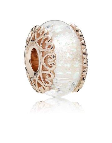 Pandora PANDORA Rose Charm, Iridescent White, Murano Glass