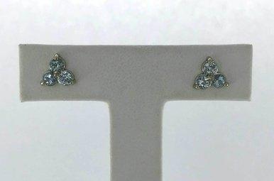 14k White Gold 0.60ctw Aquamarine Trio Stud Earrings