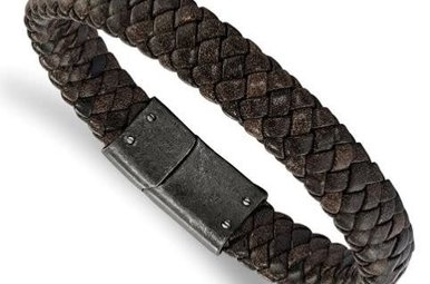 Gents Bracelet Stainless Steel Brushed Brown Braided Genuine Leather