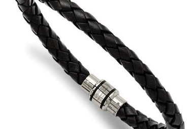 Gents Bracelet Stainless Steel Polished Black Braided Genuine Leather