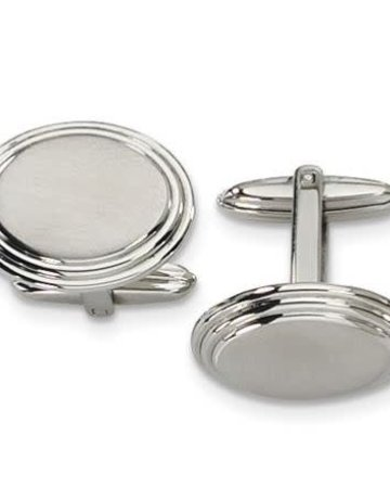 American Jewelry Cuff Links Stainless Steel Circular Brushed and  Polished Beveled