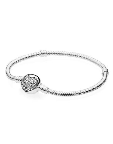 Pandora PANDORA Bracelet, Sparkling Heart Clasp, Clear CZ - 16 cm / 6.3 in