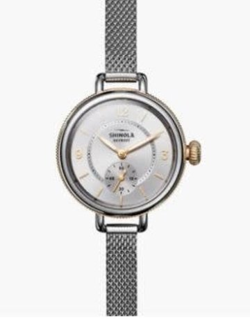 Shinola Shinola Birdy (34mm) Sub Second Silver Bracelet Sandblast Sunray Dial Polish Stainless Steel