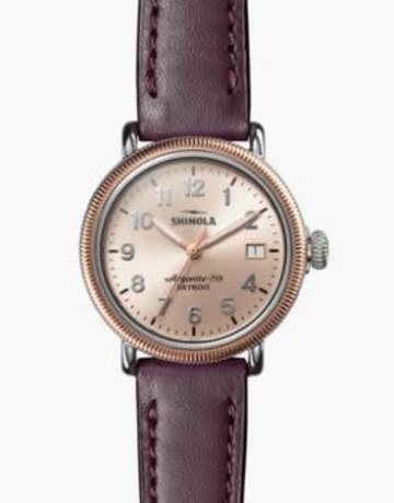 Shinola Shinola Runwell (38mm) Coin Edge Aubergine Leather Strap Gold Fine Sandblast Sunray Dial Polished Stainless Steel