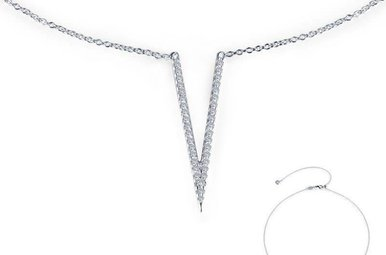 Lafonn V Choker Necklace, Simulated Diamonds .37ctw, Sterling Silver 18""