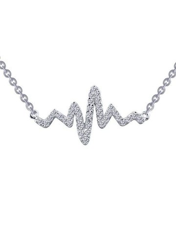 Lafonn Lafonn Heartbeat Necklace, Simulated Diamonds .39ctw, Sterling Silver 18""
