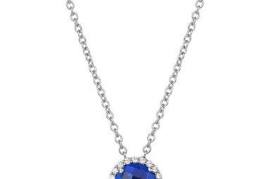 Lafonn September Birthstone Pendant, Lab Sapphire & Simulated Diamonds 1.05ctw, Sterling Silver