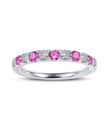 Lafonn Lafonn October Birthstone Band, Lab Pink Tourmaline & Simulated Diamonds .51ctw, Sterling Silver