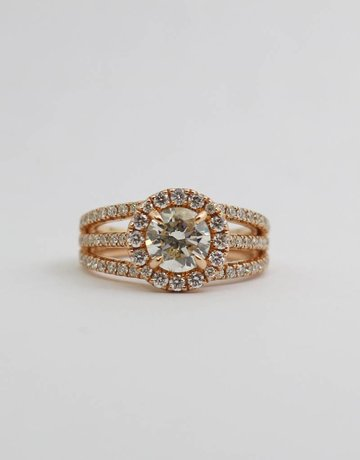 American Jewelry 14k Rose Gold 1.05ct-Ctr 1.81ctw Round Brilliant Diamond Halo Engagement Ring (Size 6)