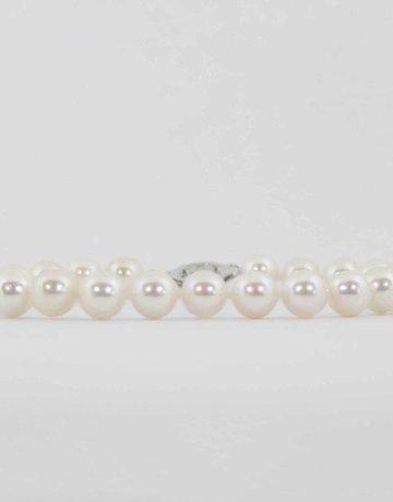 "American Jewelry 14k White Gold 7"" 6-6.5mm Akoya Pearl Strand Bracelet"