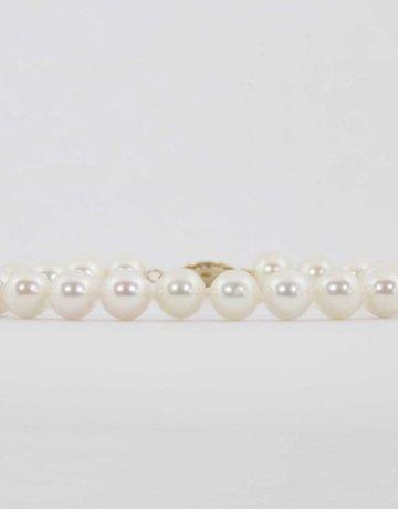 "American Jewelry 14k Yellow Gold 7"" 6-6.5mm Akoya Pearl Strand Bracelet"