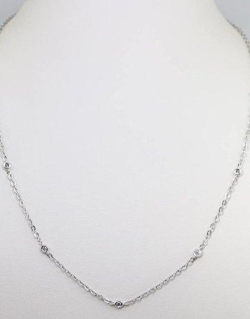 14kw .18ctw Round Brilliant Diamond Ladies Bezel Station Necklace