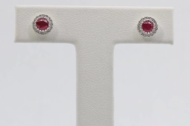 14kw .09ctw-Dia .70ctw-Ru Ruby & Diamond Halo Stud Earrings