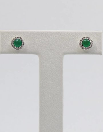 14kw .10ctw-Dia .38ctw-Em Emerald & Diamond Halo Stud Earrings
