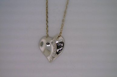 Sterling Heart w/Dia Accents Necklace