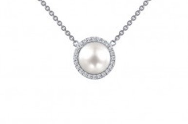 Lafonn Pearl Halo Pendant, Simulated Diamonds .24ctw, Sterling Silver 18""