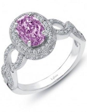 Lafonn Lafonn 2.35 cttw 95 Stone Oval Pink Sapphire Halo Ring