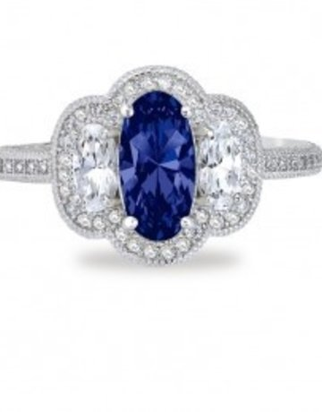 Lafonn Lafonn 3.74 cttw 105 Stone Oval Sapphire Ring