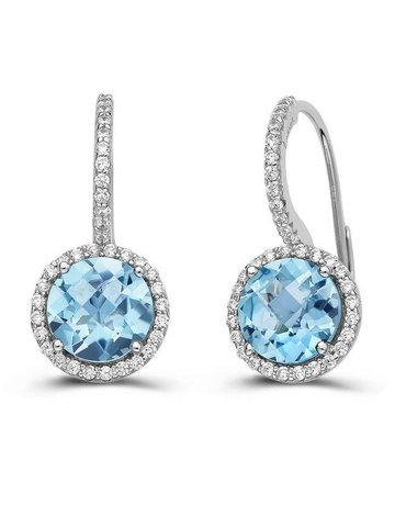 Lafonn Lafonn 5.1 cttw 104 Stone Blue Topaz Halo Earrings