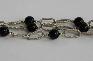 Sterling 14kt Gold Onyx Beaded Bracelet