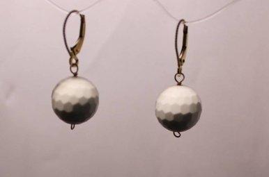 14k yg White Onyx Golf Ball Earrings