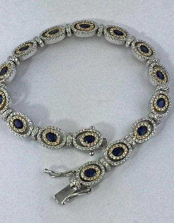 American Jewelry 18k Two Toned 3ctw Dia 3.5ctw Natural Sapphire Micro Bracelet