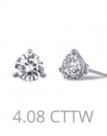 Lafonn 4.08ctw 3 Prong Martini Stud Earrings