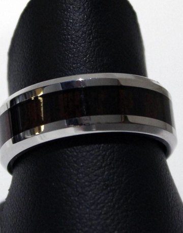 American Jewelry Stainless STEL & Wood Men's Band Ring