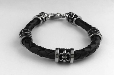 Stainless Polished/Antiqued Fleur/Dragon Leather Braided Bracelet