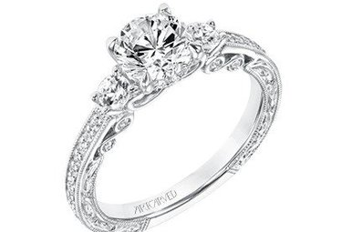 "14k White Gold .39ctw Diamond Artcarved Semi Mount ""Rowan"" Engagement Ring"