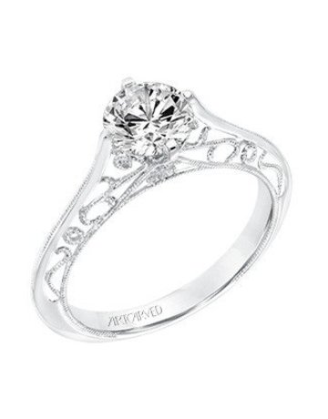 "American Jewelry 14k White Gold ArtCarved ""Laurette"" Semi Mount (CZ Center) Engagement Ring (Size 6.5)"