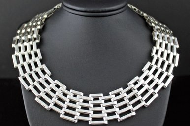 Sterling Silver Geometric Link Bib Necklace (125 grams)
