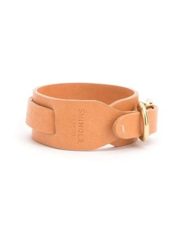American Jewelry Shinola Wide Double Wrap Leather Bracelet Color: Natural