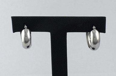 14k White Gold 6.5mm Wide Polished 18mm Hoop Earrings