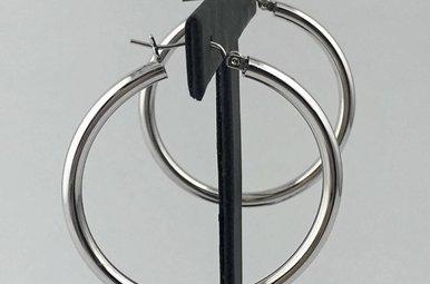 14k White Gold Domed Polished 40mm Hoop Earrings