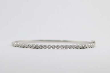 14kw .45ctw Round Brilliant Diamond Ladies Bangle Bracelet