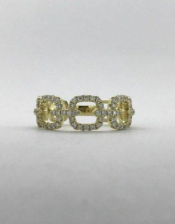 American Jewelry 14k Yellow Gold 0.47ctw Diamond Open Cushion Link Ring (Size 6)
